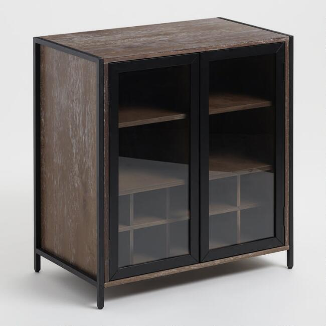 Wood and Metal Modular Isaiah Bar Cabinet