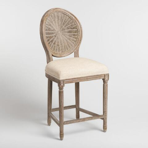 Superb Natural Cane Round Back Paige Upholstered Counter Stool Bralicious Painted Fabric Chair Ideas Braliciousco