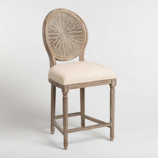 Natural Cane Round Back Paige Upholstered Counter Stool