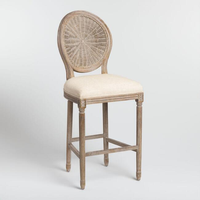 Natural Cane Round Back Paige Upholstered Barstool