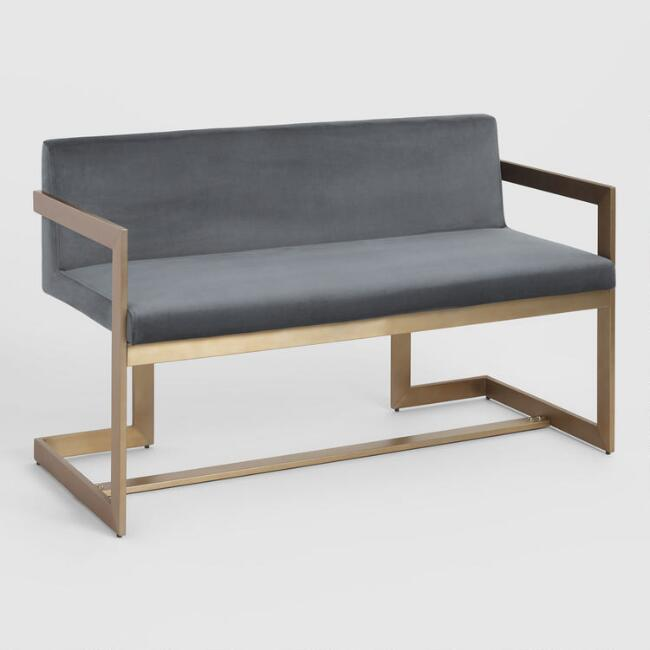 Charcoal and Gold Kiera Bench