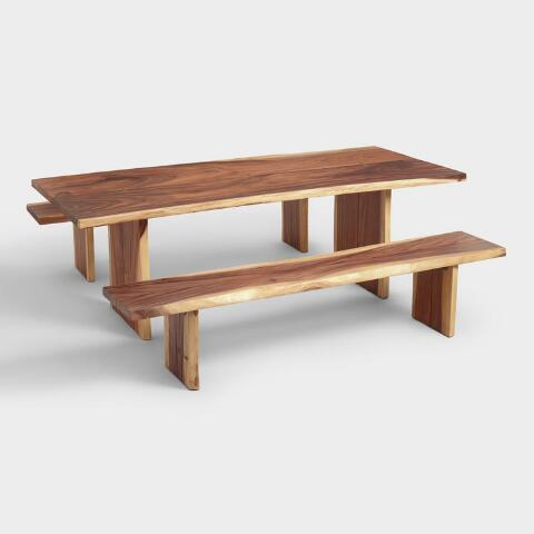 Live Edge Kitchen Table With Bench