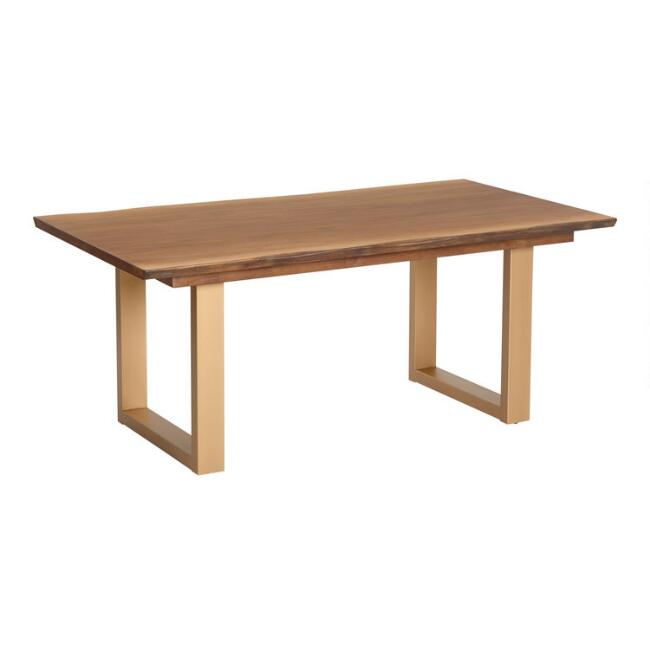 Live Edge Wood and Gold Metal Sloan Dining Table | World ...