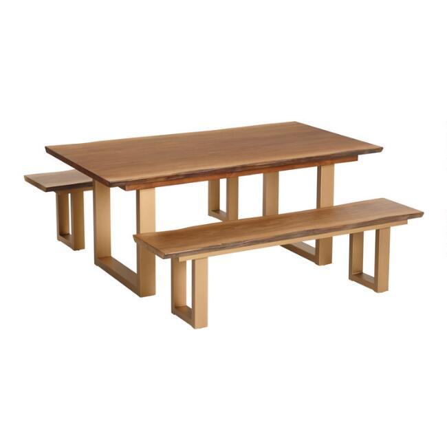 Live Edge Wood and Gold Metal Sloan Dining Collection