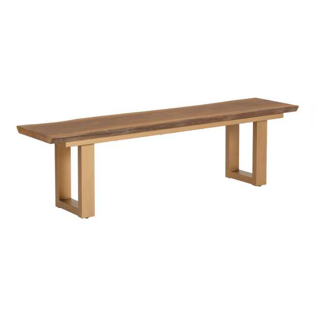 Groovy Live Edge Wood And Gold Metal Sloan Dining Bench Ibusinesslaw Wood Chair Design Ideas Ibusinesslaworg