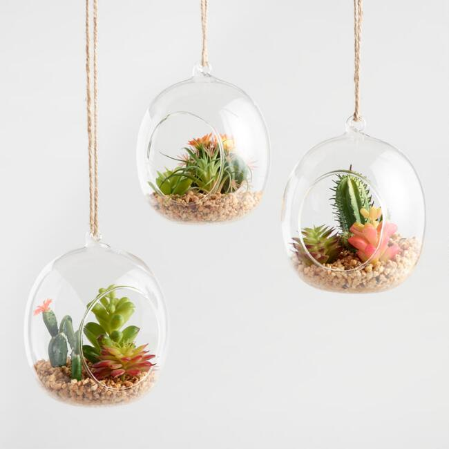 Glass Globes with Faux Cacti and Jute Hangers Set of 3