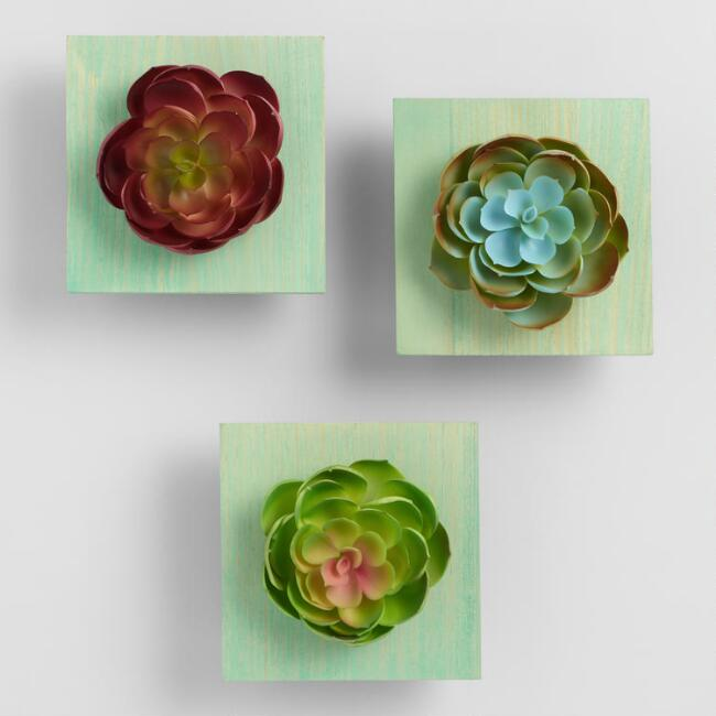 Mounted Faux Echeveria Wall Decor Set of 3