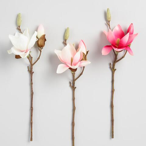 Faux Magnolia Stem Set Of 3