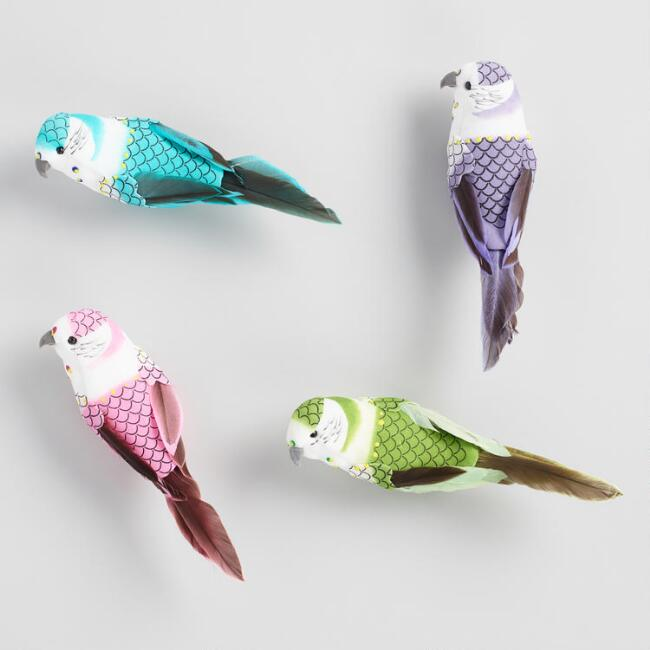 Feather and Fabric Parakeet Clips Set of 4