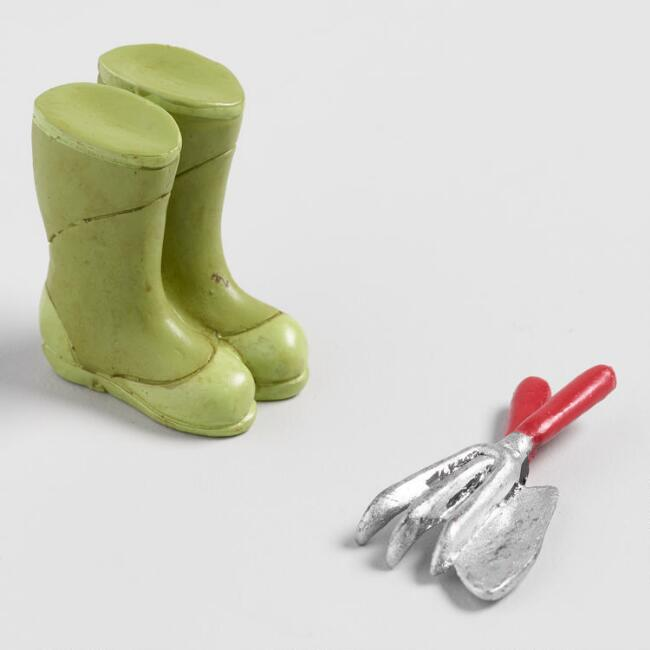 Fairy Garden Boots and Tools 2 Pack