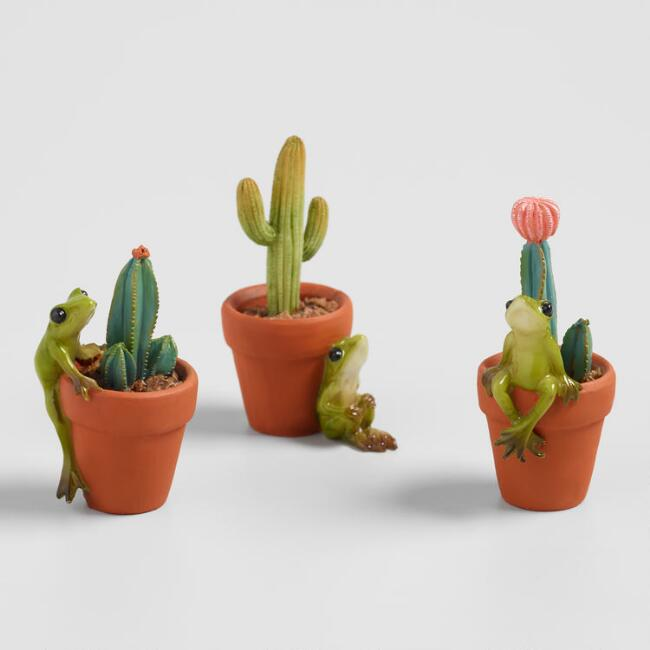 Fairy Garden Frogs with Cacti 3 Pack