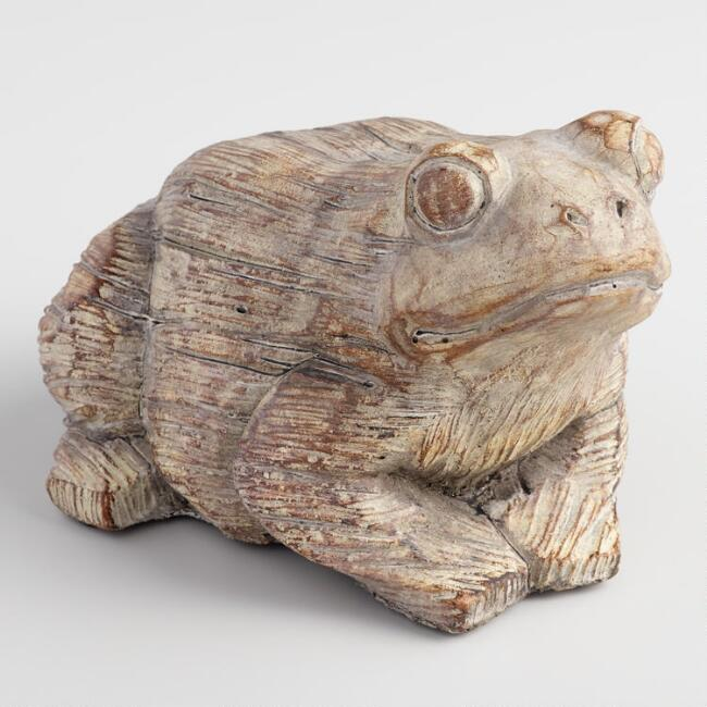 Etched Cement Frog Statue