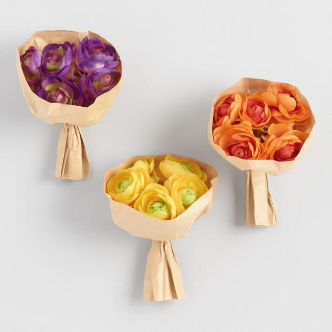 Faux Ranunculus Bundles in Paper Set of 3