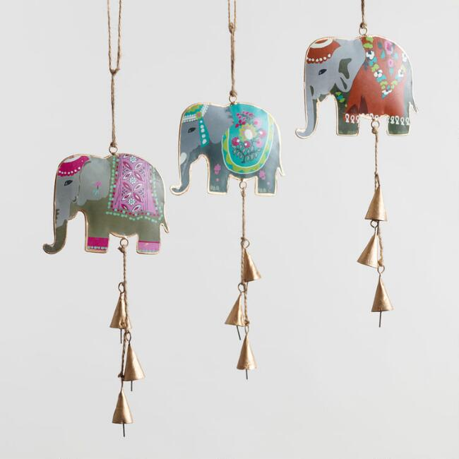 Iron Elephant Hanging Decor Set of 3