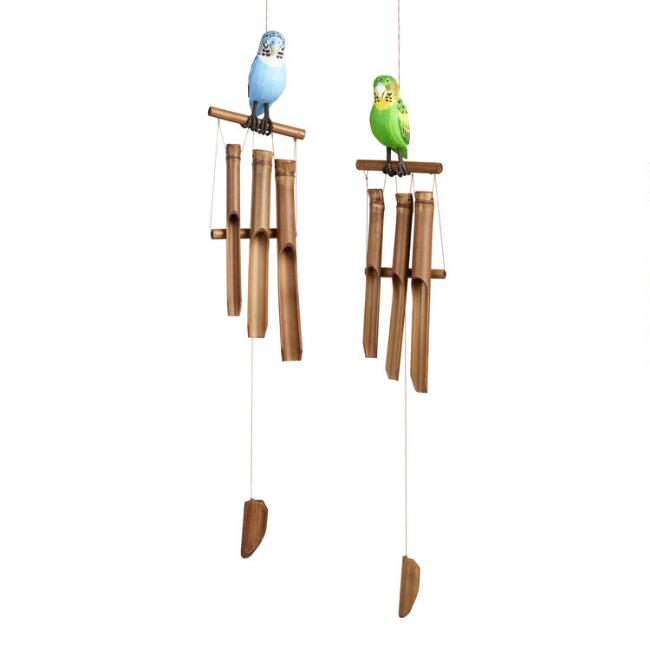 Carved Wood and Bamboo Parakeet Wind Chimes Set of 2