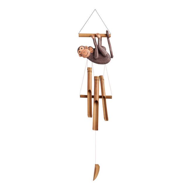 Carved Wood and Bamboo Monkey Wind Chimes