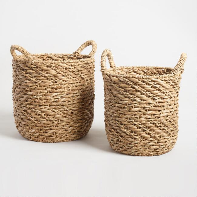 Natural Zigzag Hyacinth Camille Tote Basket