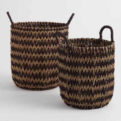 Two Tone Zigzag Seagrass Lucie Tote Basket