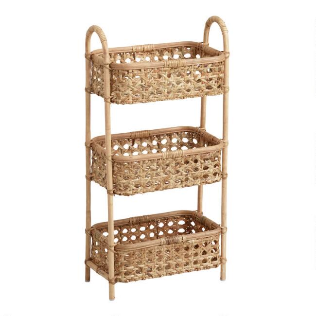 Natural Rattan Cane 3 Tier Farrah Storage Tower