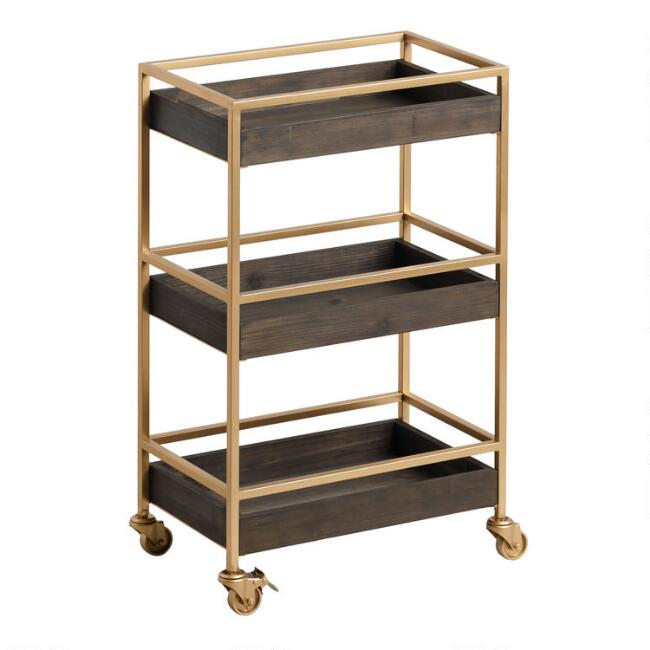 Gold and Walnut 3 Tier Andre Rolling Cart