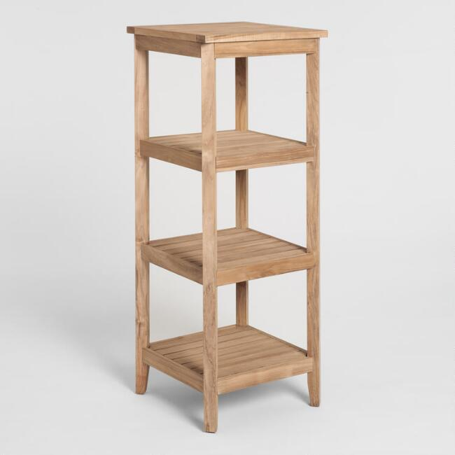 Teak Wood 4 Tier Teigan Storage Tower