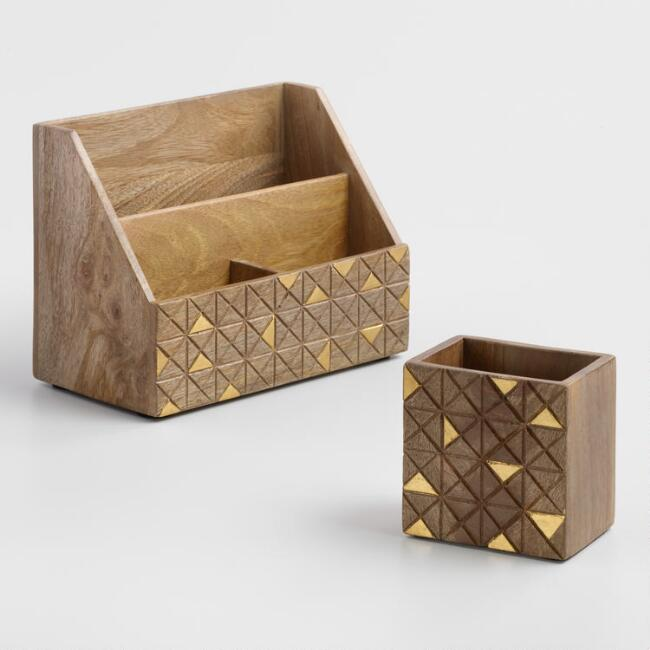 Wood and Brass Jordan Desk Accessories Collection