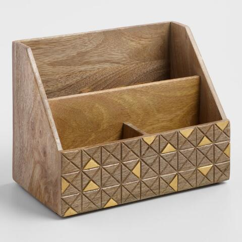 Awe Inspiring Wood And Brass Jordan Desk Accessories Collection Download Free Architecture Designs Embacsunscenecom