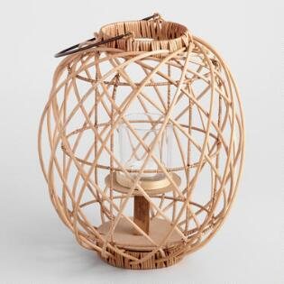 Natural Rattan Crisscross Lantern