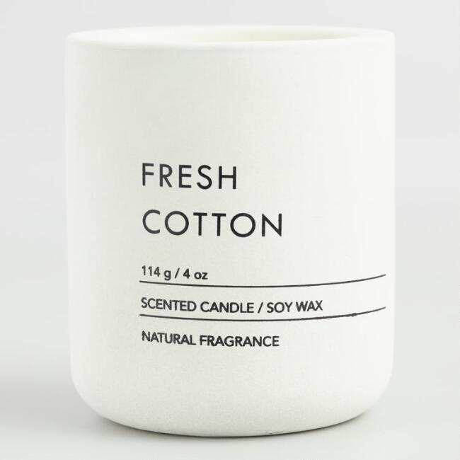 White Fresh Cotton Cement Filled Jar Candle