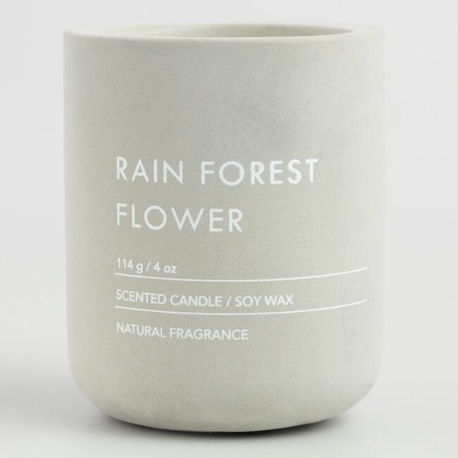 Gray Rain Forest Flower Cement Filled Jar Candle