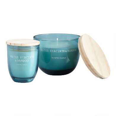 Light Blue Water Hyacinth & Bamboo Scented Candle