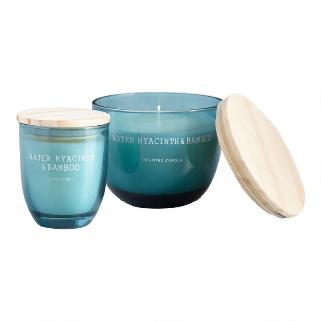 Light Blue Water Hyacinth and Bamboo Filled Jar Candle