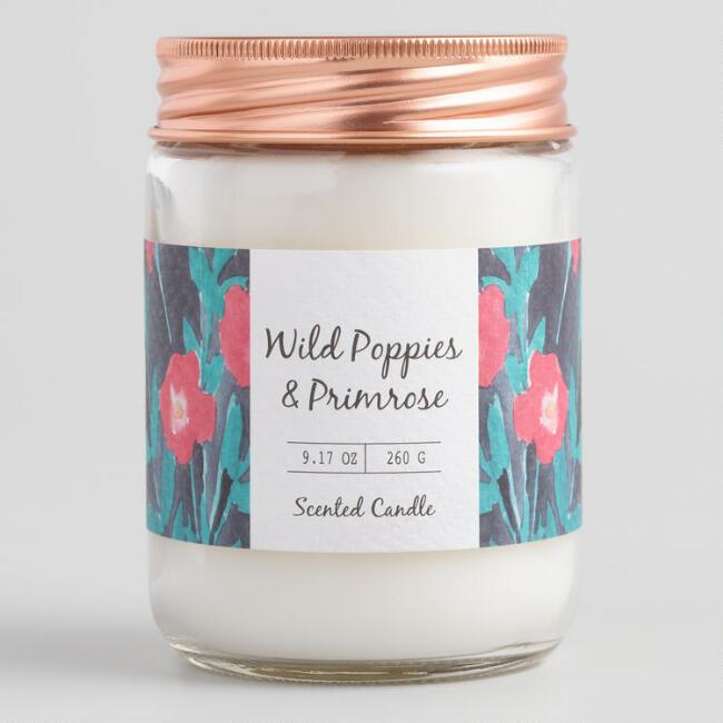 Floral Wild Poppies and Primrose Filled Jar Candle