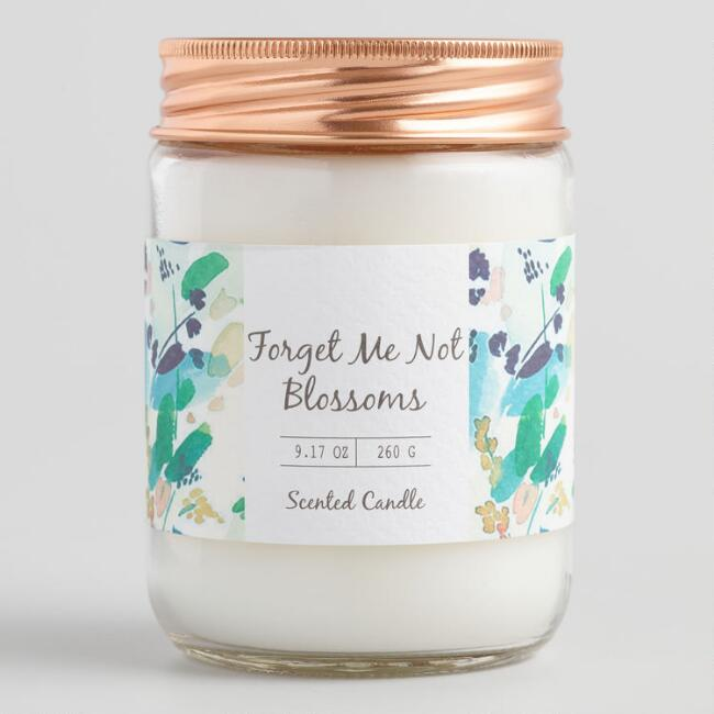 Floral Forget Me Not Blossoms Filled Jar Candle