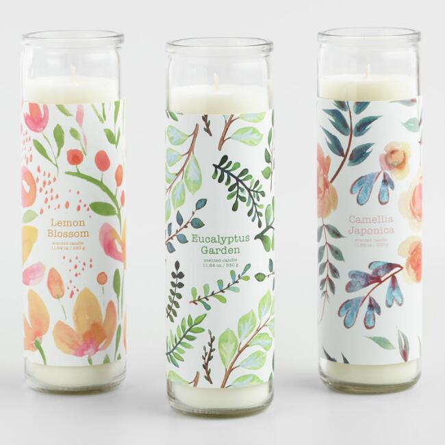 Tall Floral Filled Candle Collection