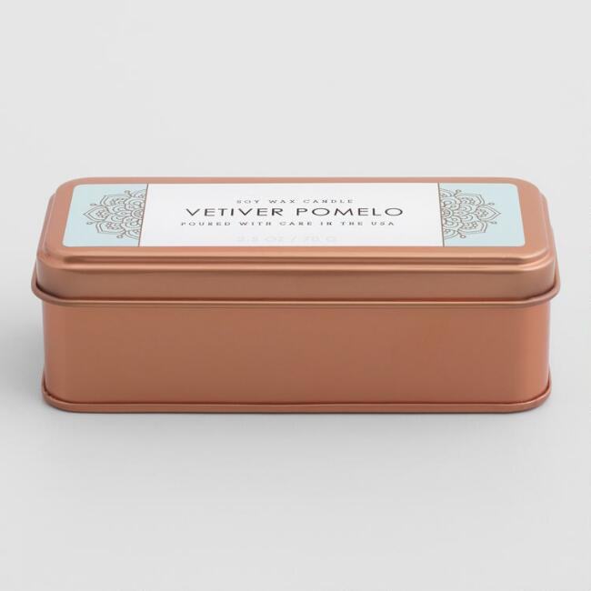 Copper Vetiver Pomelo Scented Candle Travel Tin