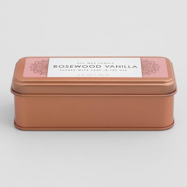 Rosewood Vanilla Copper Tin Travel Candle