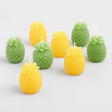 4 Pack Green and Yellow Pineapple Candles Set of 2