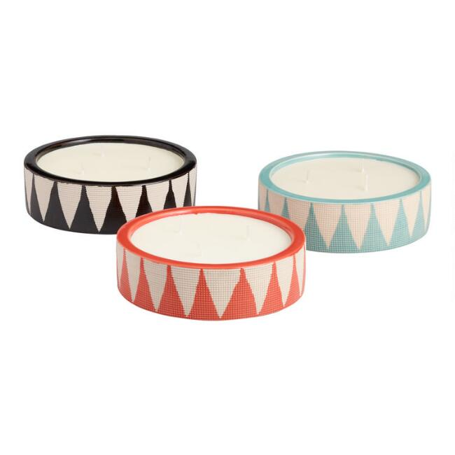 Large Geometric Citronella Candles Set of 3