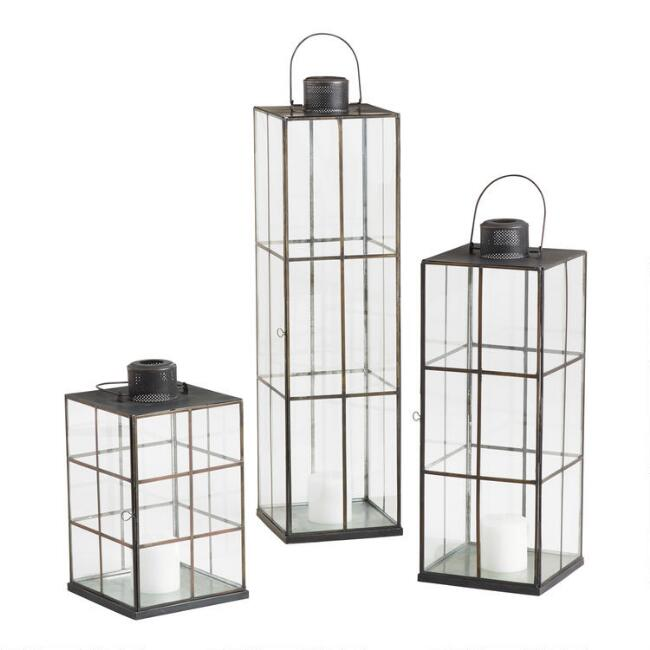 Black Windowpane Cargo Lantern