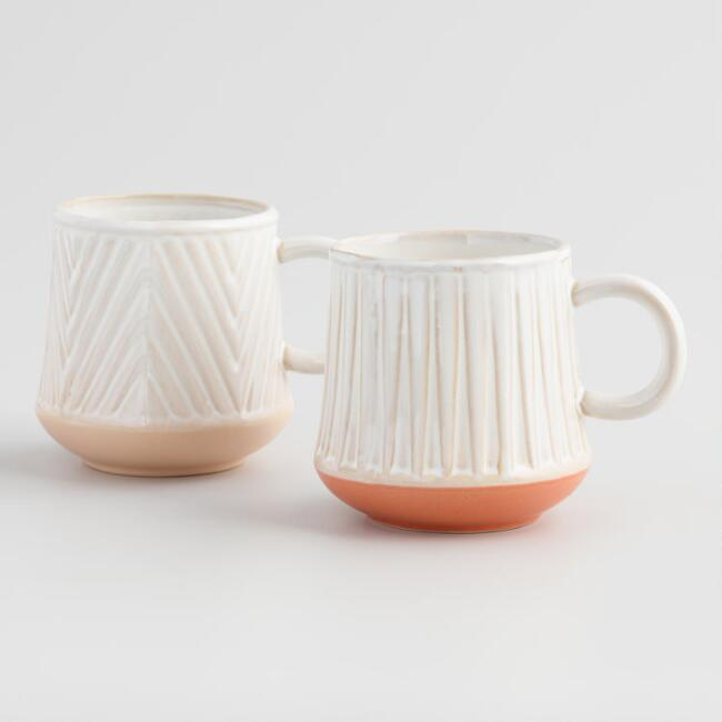 Ivory and Taupe Mid Century Terracotta Mugs Set of 2