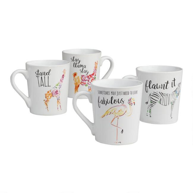 Floral Fashion Animal Mugs Set of 4
