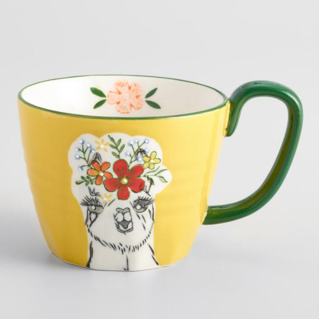 Yellow Hand Painted Llama Mug