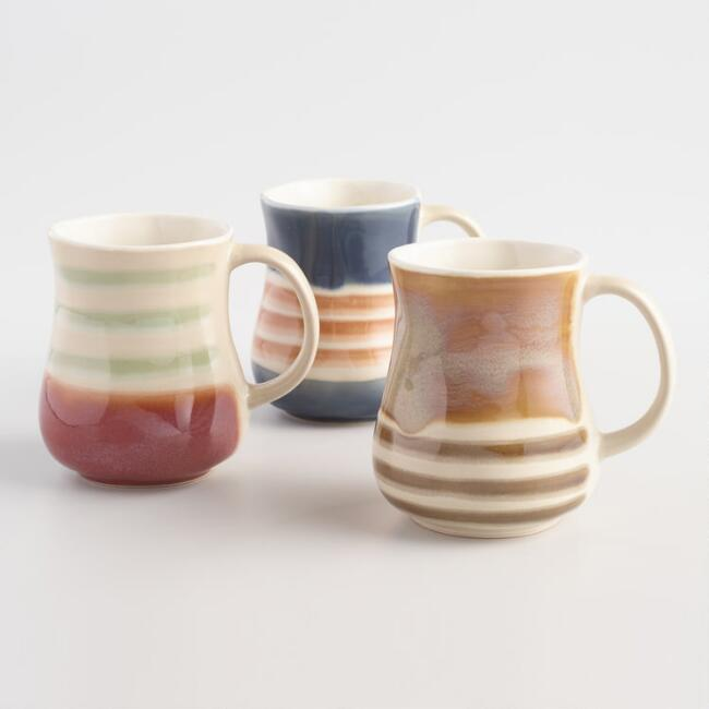 Striped Belly Mugs Set of 3