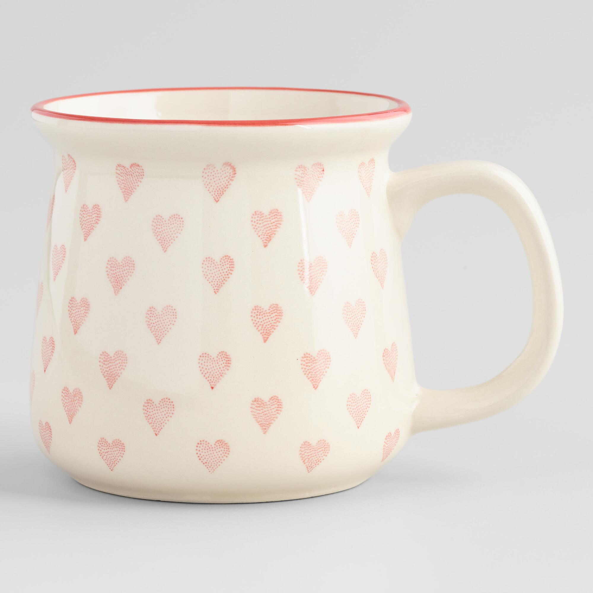Vintage Christmas Gift Ideas for Women Red and Ivory Hearts Mug by World Market $7.99 AT vintagedancer.com