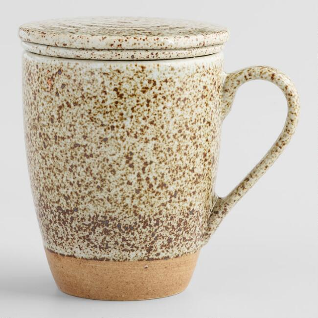 Ivory Speckled Porcelain Tea Infuser Mug