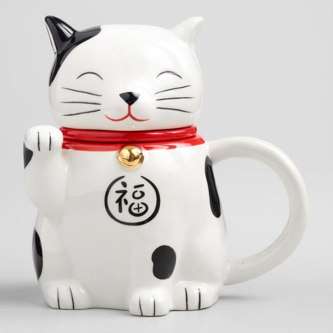 Lucky Cat Tea Infuser Mug