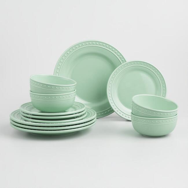 Jade Green Nantucket 12 Piece Dinnerware Set