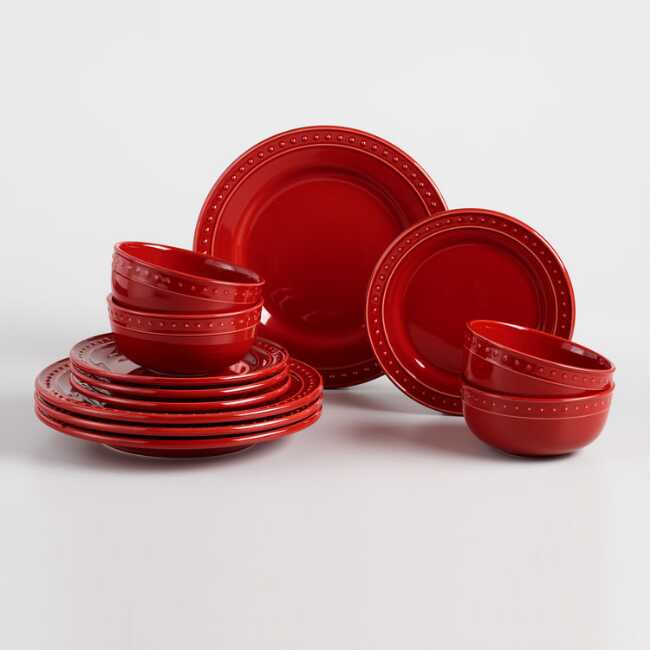 Red Nantucket 12 Piece Dinnerware Set