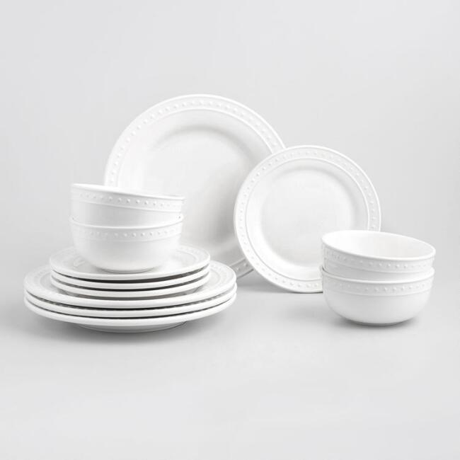 White Nantucket 12 Piece Dinnerware Set